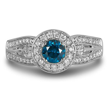 14K WG Dia Eng Ring with Round Halo & Enhanced Blue Center Dia