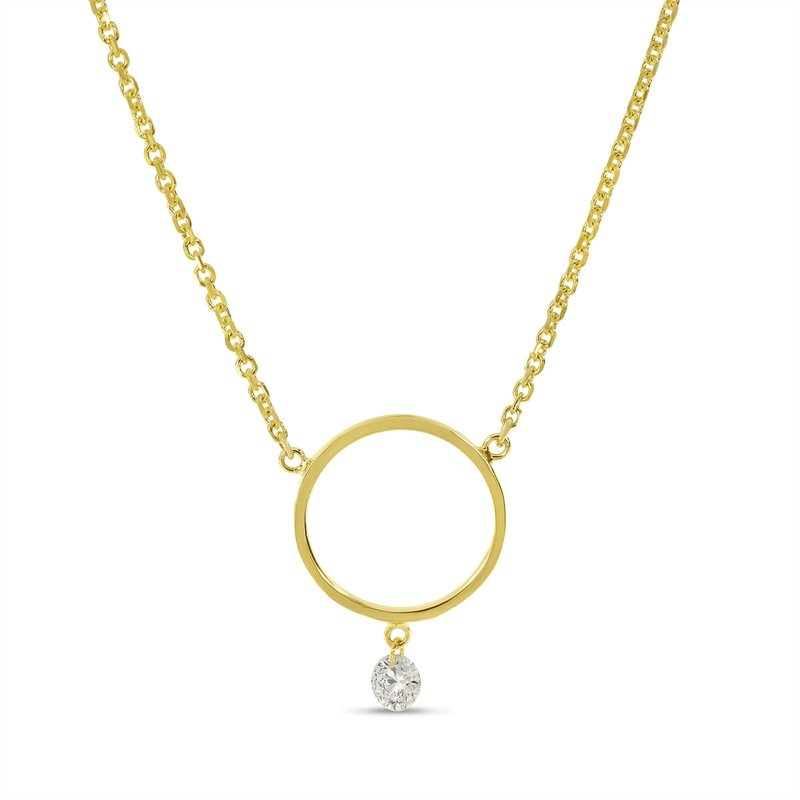 "Color Merchants 14K Yellow Gold Circle Diamond Necklace with 18"" Cable Chain"