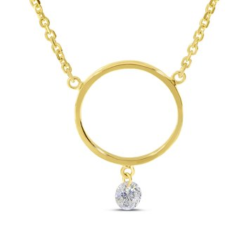 "14K Yellow Gold Circle Diamond Necklace with 18"" Cable Chain"