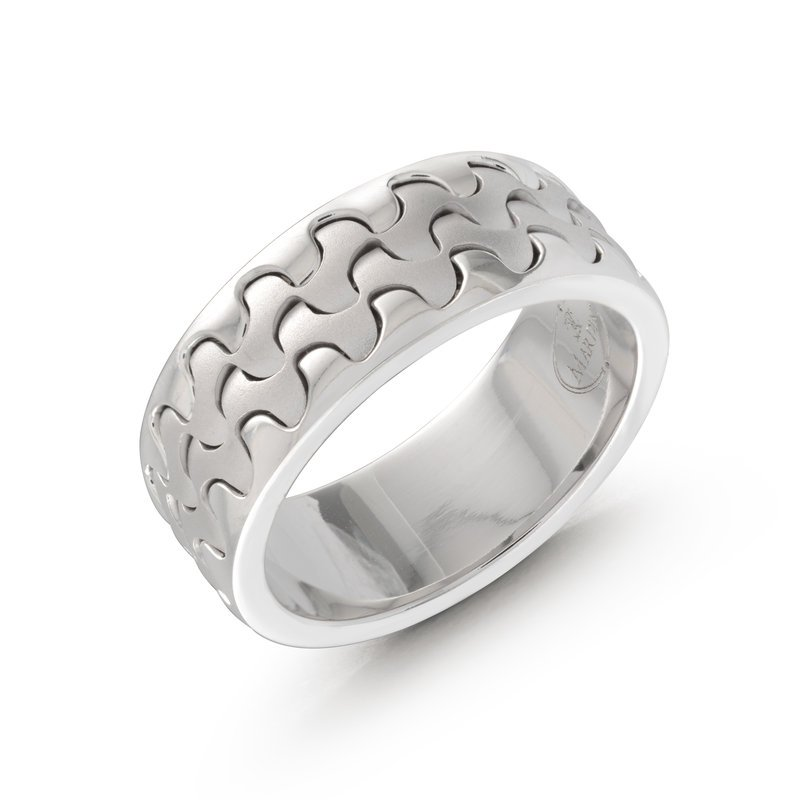 Mardini Catch the wave with this 9mm white gold interlock center band
