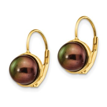 14K 6-7mm Black Button Freshwater Cultured Pearl Leverback Earrings