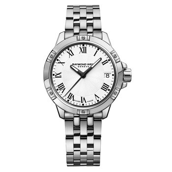 Ladies Quartz Date Watch, 30mm Steel on steel, white dial