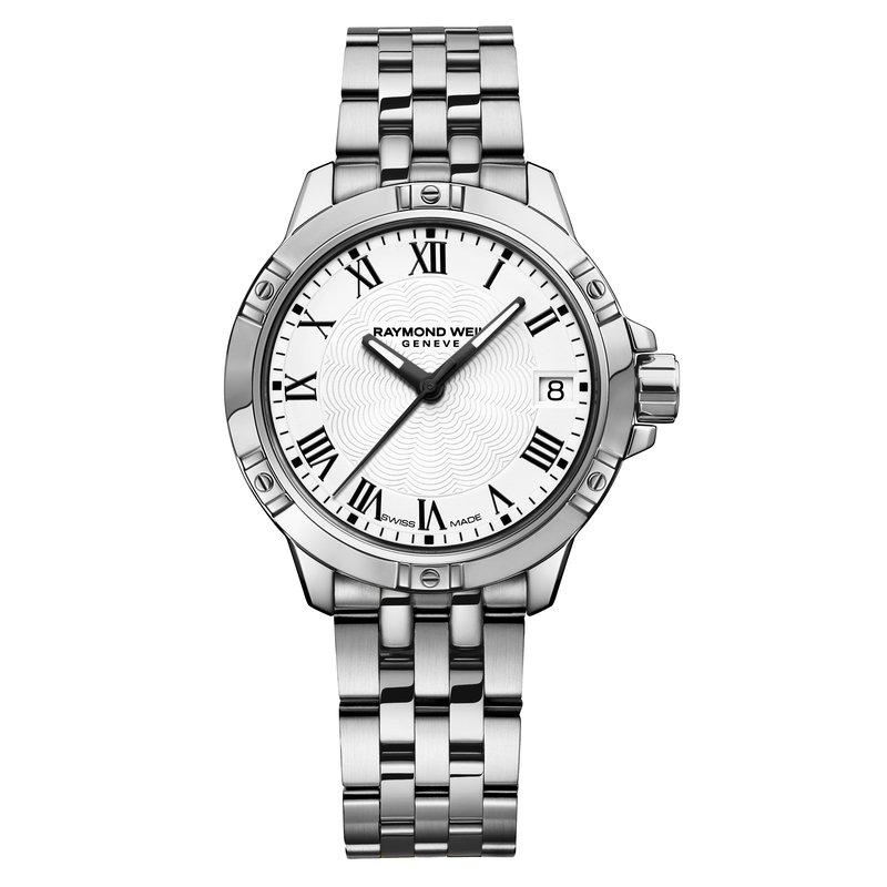 Raymond Weil Ladies Quartz Date Watch, 30mm Steel on steel, white dial