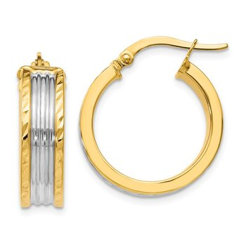 Leslie's 14K w/White Rhodium Hoop Earrings