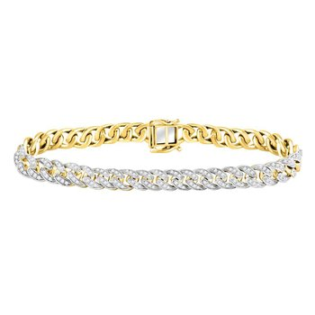 10kt Yellow Gold Mens Round Diamond Cuban Link Choker Bracelet 2-5/8 Cttw