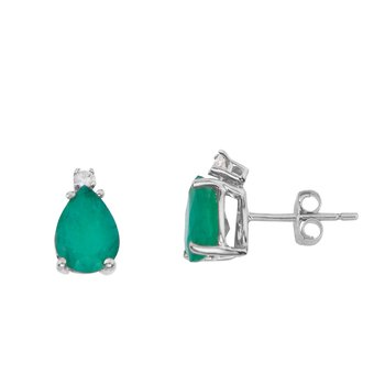 14k White Gold Pear Shape Emerald And Diamond Earrings