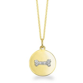 Diamond Disc Necklace With Bone in 14k Yellow Gold with 9 Diamonds weighing .06ct tw.