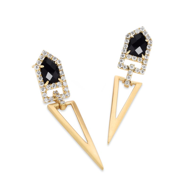 Doves Gatsby Onyx & Diamond Earrings 18KY