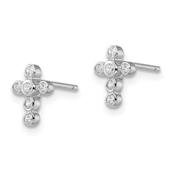 Sterling Silver Rhodium-plated CZ Cross Earrings
