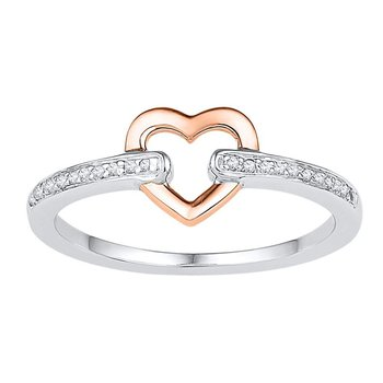 10kt White Gold Womens Round Diamond Rose-tone Bound Heart Ring 1/12 Cttw
