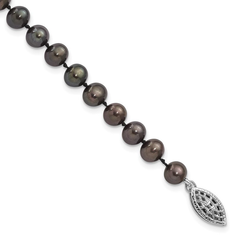 Quality Gold Sterling Silver Rhod-plated 5-6mm Black FWC Pearl Necklace