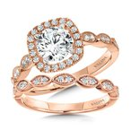 Valina Bridals Scalloped & Milgrain-Beaded Cushion-Shaped Halo Engagement Ring