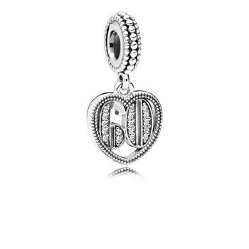 60 Years Of Love Dangle Charm, Clear Cz