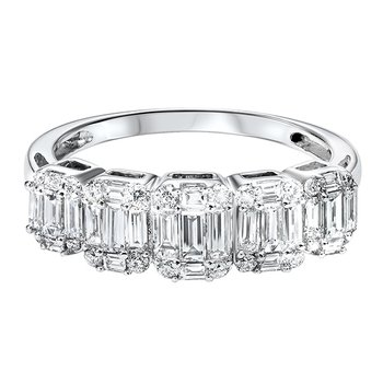 Diamond ¼ Eternity Baguette Stackable Wedding Band in 14k White Gold (1 ctw)