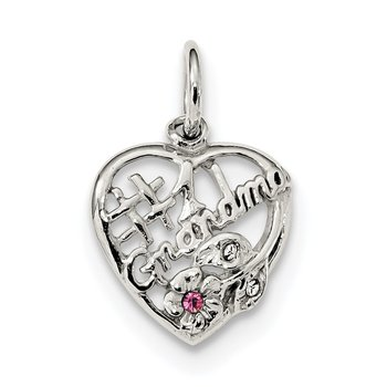 Sterling Silver Rhodium-plated Pink & White CZ #1 Grandma Pendant