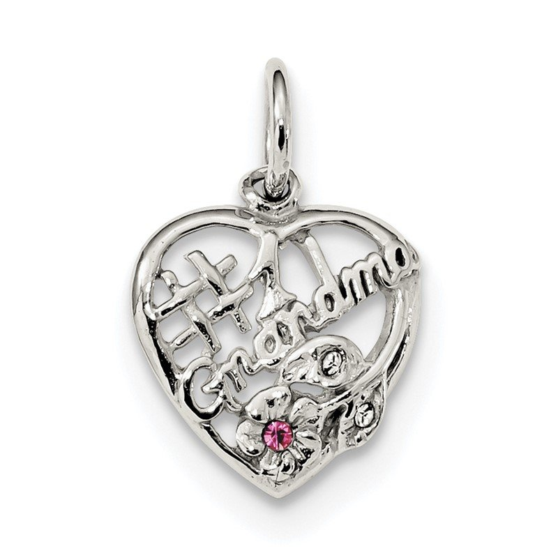 Quality Gold Sterling Silver Rhodium-plated Pink & White CZ #1 Grandma Pendant