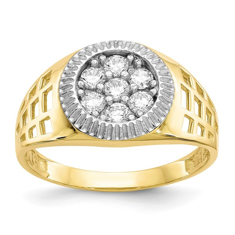 Quality Gold 10K w/Rhodium Men'S CZ Cluster Ring