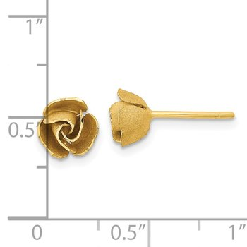 14k Yellow Gold Satin Finish D/C Rose Post Earrings