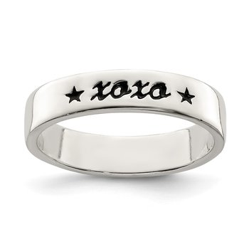 Sterling Silver Antiqued & Polished XOXO Ring