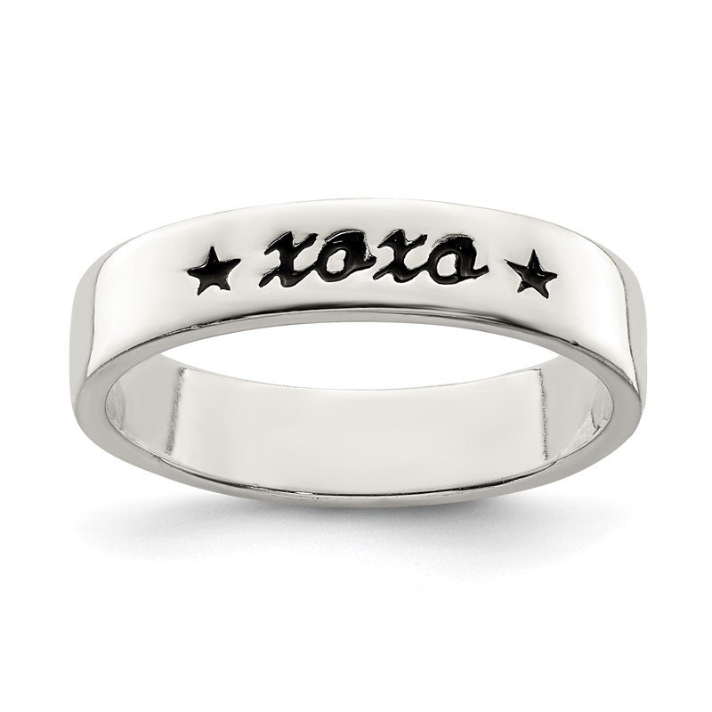 Quality Gold Sterling Silver Antiqued & Polished XOXO Ring