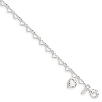 Sterling Silver Heart-link with Heart Charm Anklet