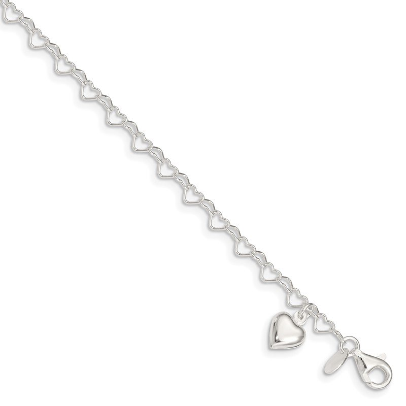 J.F. Kruse Signature Collection Sterling Silver Heart-link w/Heart Charm Anklet