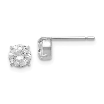 Leslies 14k White Gold CZ Stud 5.0mm Earrings