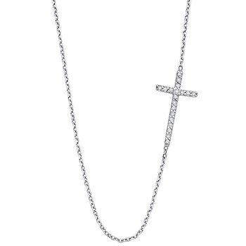 Diamond Cross Necklace Stationed To The Right in 14k with 19 Diamonds weighing .10ct tw.
