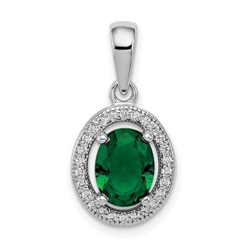 Sterling Silver Rhod-plated w/ Green and White CZ Oval Pendant