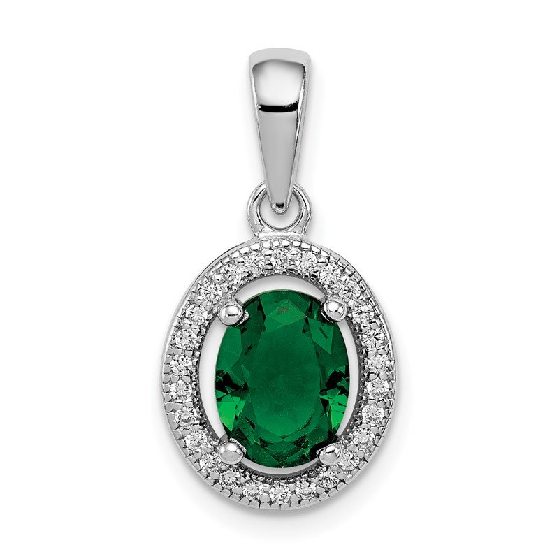 Quality Gold Sterling Silver Rhod-plated w/ Green and White CZ Oval Pendant
