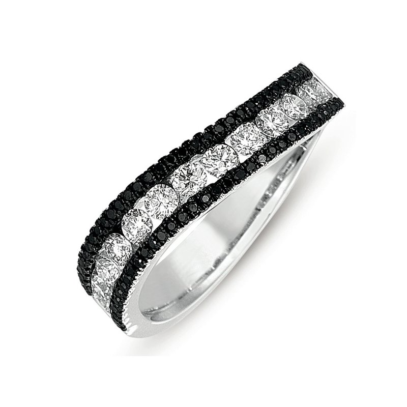 S. Kashi  & Sons White Gold & Black Diamond Band