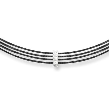ALOR Noir Multi-Black Cable Necklace with Vertical Diamond Bar Separator