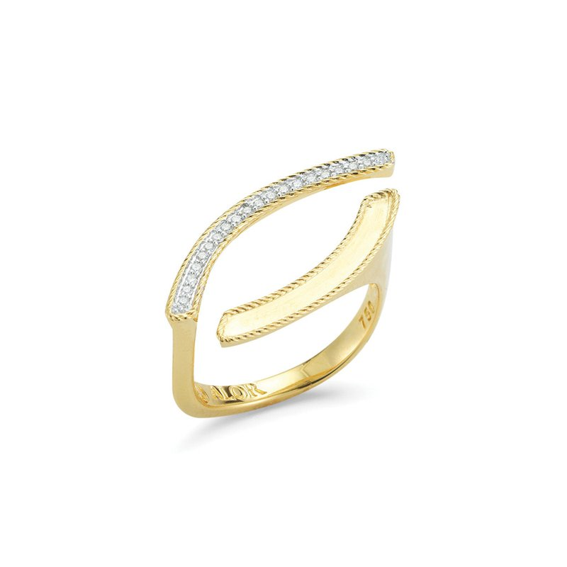ALOR Yellow Gold & Diamond Teardrop Ring