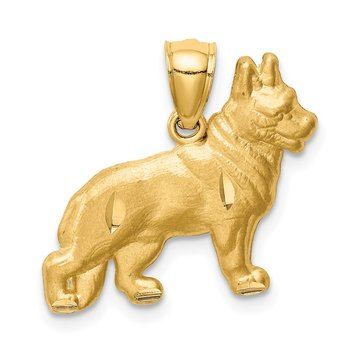 14K Diamond-cut German Shepherd Pendant