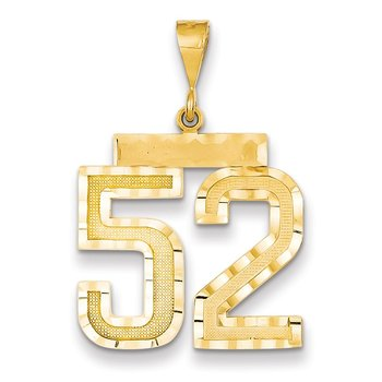 14k Large Diamond-cut Number 52 Charm