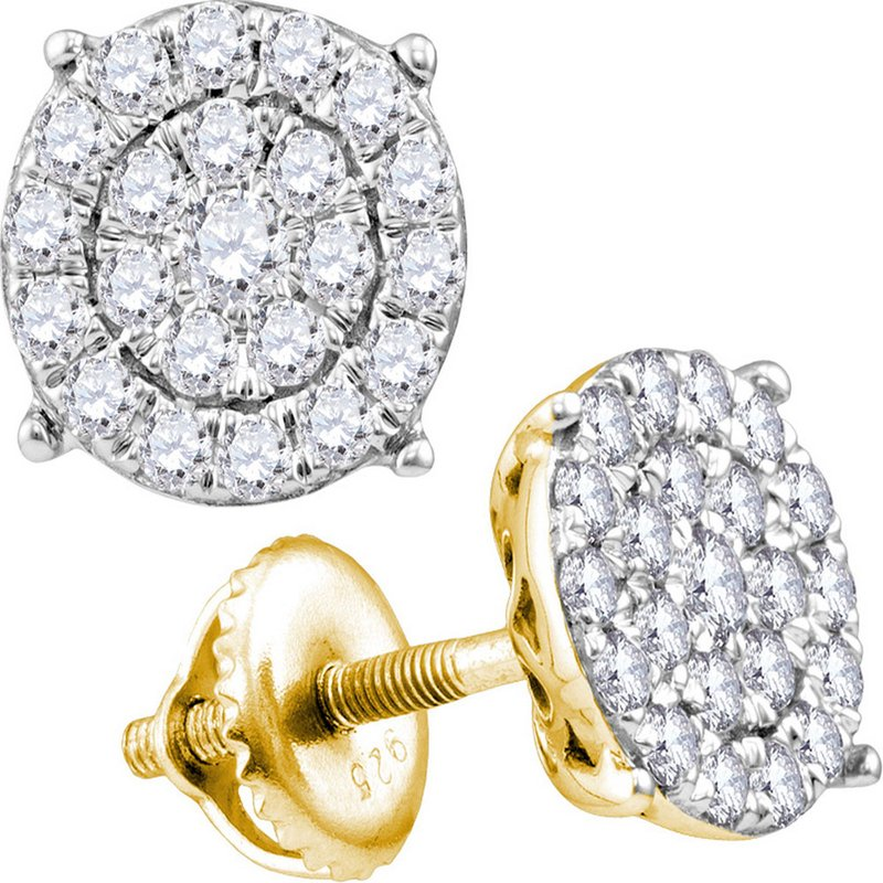 Gold-N-Diamonds, Inc. (Atlanta) 10kt Yellow Gold Womens Round Diamond Concentric Circle Cluster Stud Earrings 2.00 Cttw
