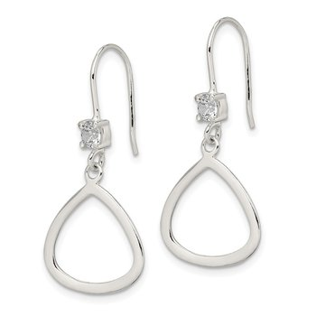 Sterling Silver CZ Dangle Shepherd Hook Earrings