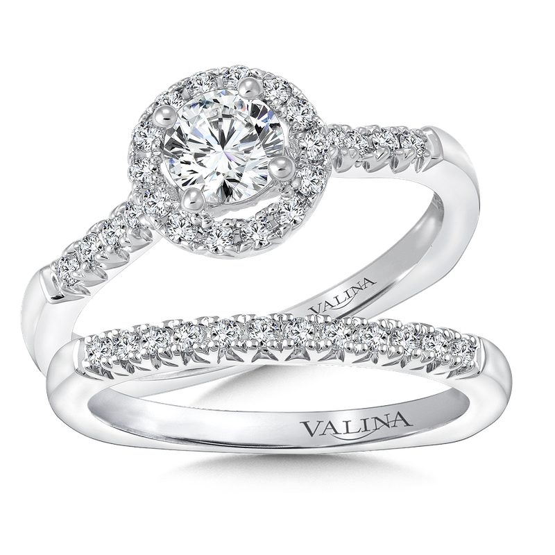 Valina Bridals Round halo mounting  .22 ct. tw.,  1/2 ct. round center.