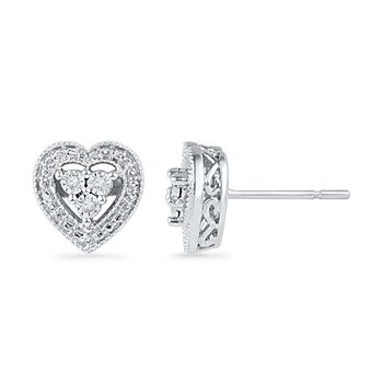 0.30 CTTW Sterling Silver Diamond Study Earrings
