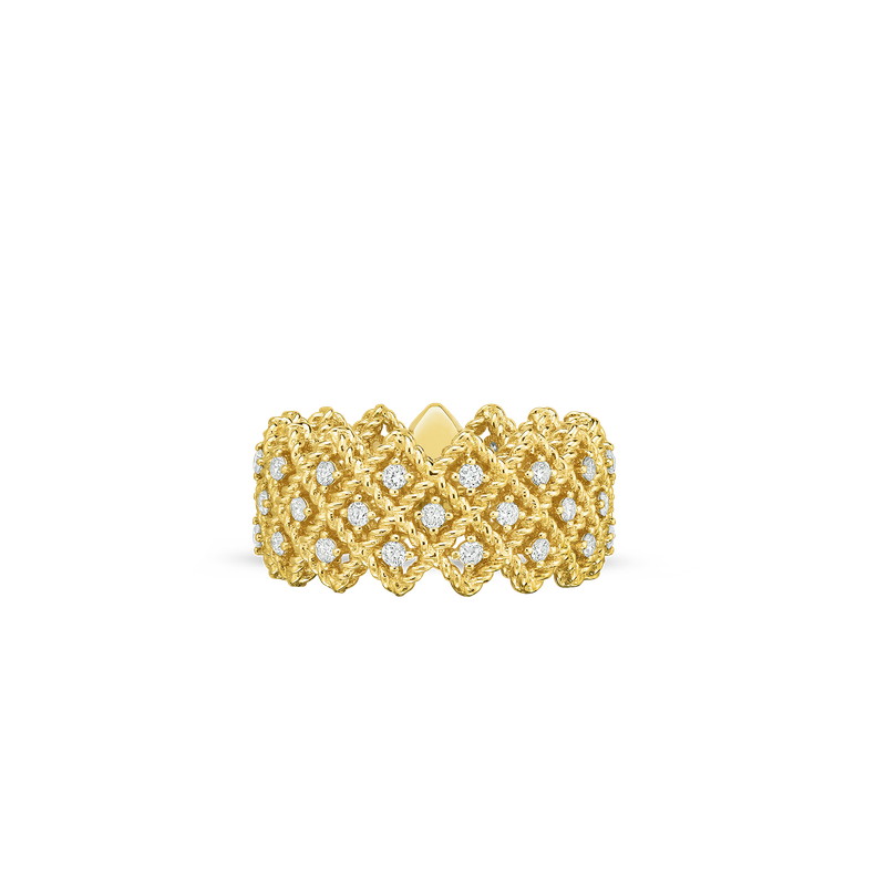 Roberto Coin 18Kt Gold 3 Row Diamond Band