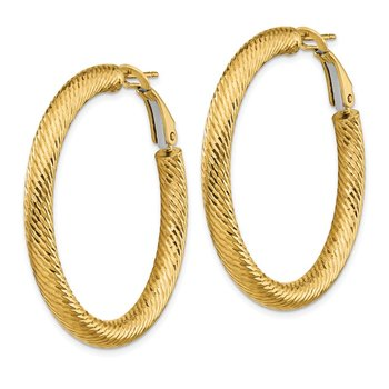 14k 4x30mm Diamond-cut Round Omega Back Hoop Earrings
