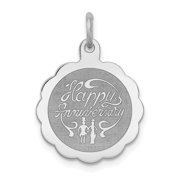 Sterling Silver Rhodium-plated Happy Anniversary Disc Charm