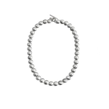 Dot 9mm Link Necklace in Hammered Silver