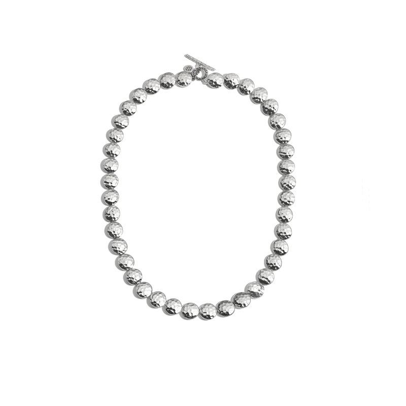 JOHN HARDY Dot 9mm Link Necklace in Hammered Silver