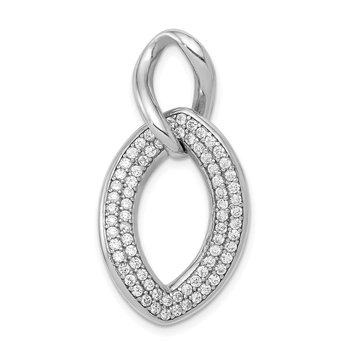 Sterling Silver Rhodium-plated Polished with CZ Pendant