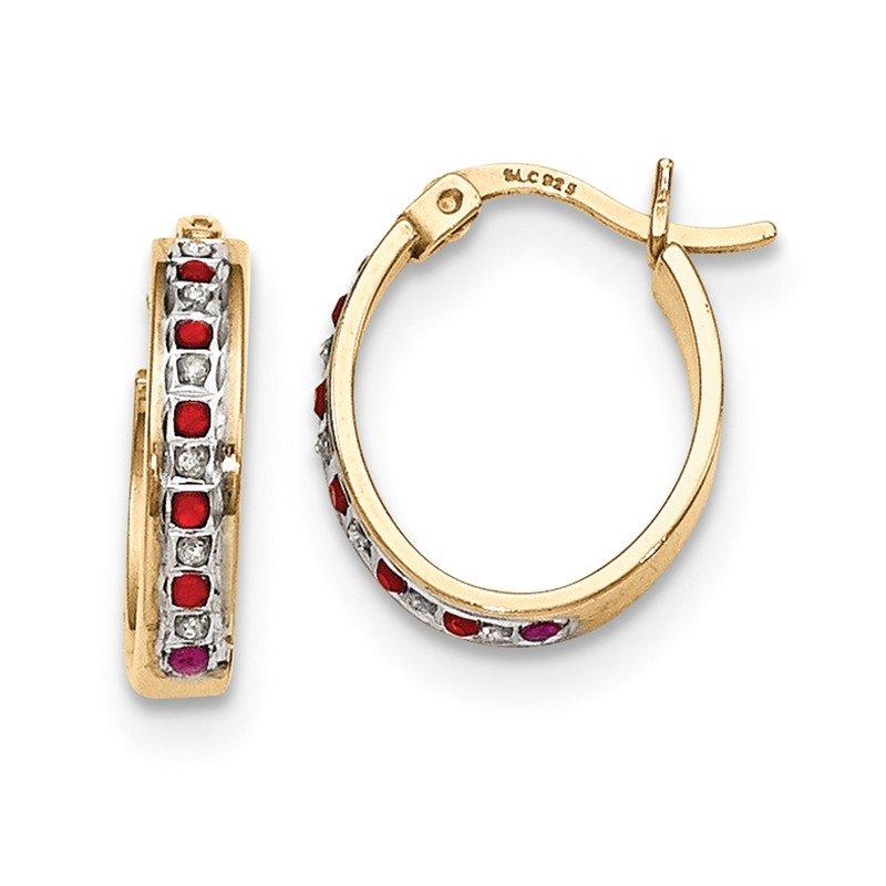 Quality Gold Sterling Silver & Gold-plated Dia. & Ruby Oval Hoop Earrings