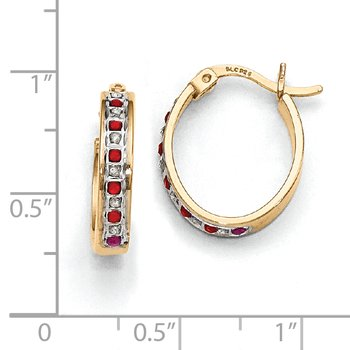 Sterling Silver Diamond Mystique Gold-plated Dia. & Ruby Oval Hoop Earrings