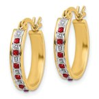 Quality Gold Sterling Silver Diamond Mystique Gold-plated Dia. & Ruby Oval Hoop Earrings