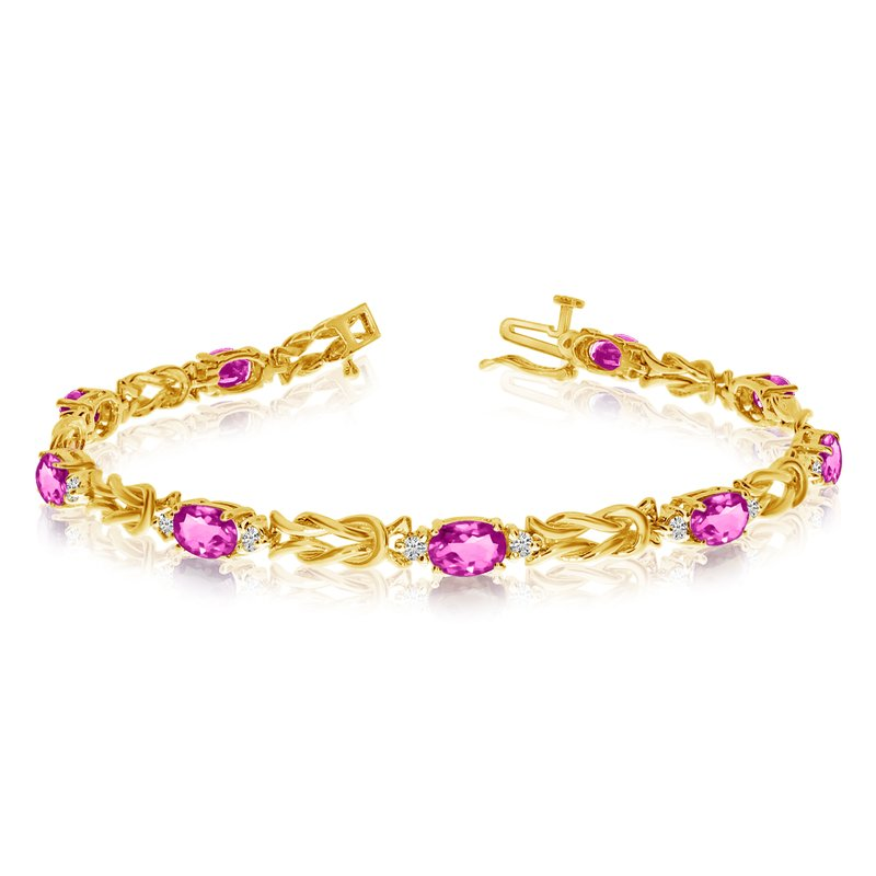 Color Merchants 14k Yellow Gold Natural Pink-Topaz And Diamond Tennis Bracelet