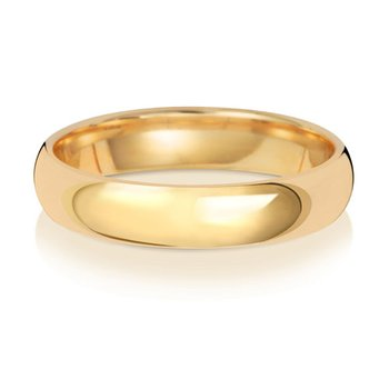 9Ct Yellow Gold 4mm Traditional Court Wedding Ring